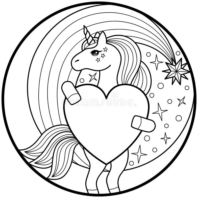 Unicorn Round Print stock vector. Illustration of graphic