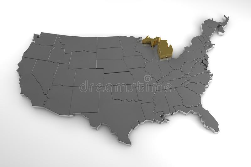 The name michigan was actually applied to the lower peninsulas. United States Of America 3d Metal Map Isolated On White Stock Illustration Illustration Of Render Shinning 99766032