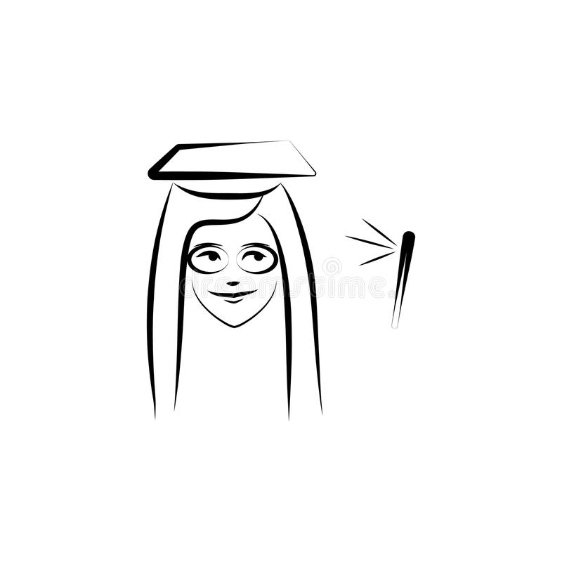 A sketch of a graduate stock illustration. Illustration of