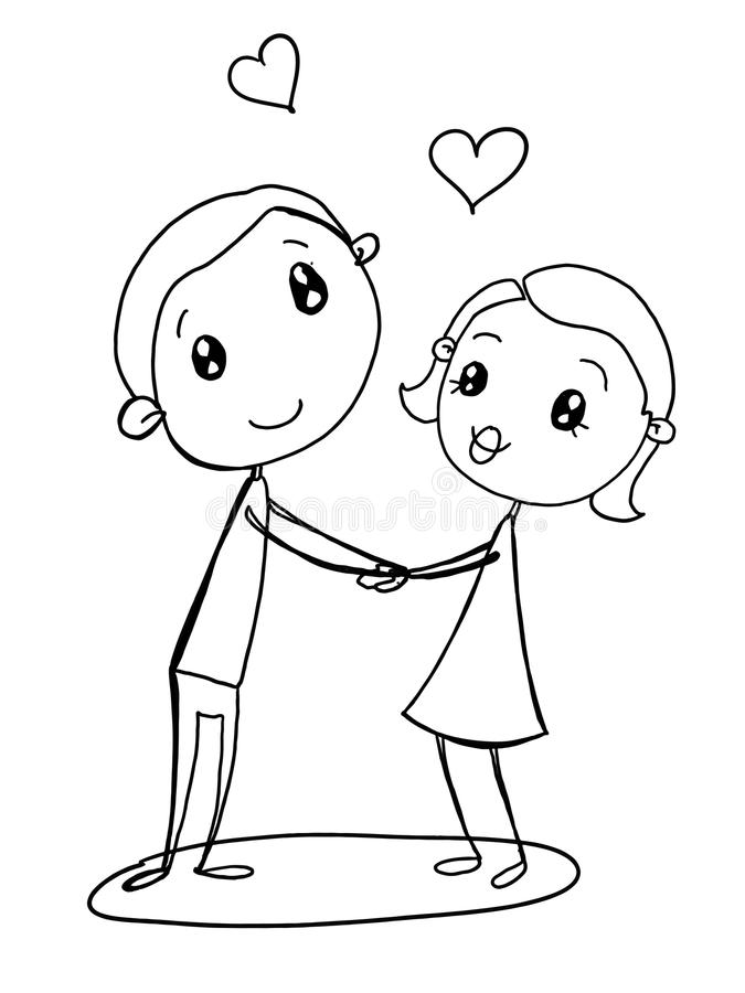 Cartoon Couple Drawing : cartoon, couple, drawing, Couple, Illustration, Female, Drawing, Cartoon, White, Background, Coloring, Stock, Vector, People,, Kids:, 108181316