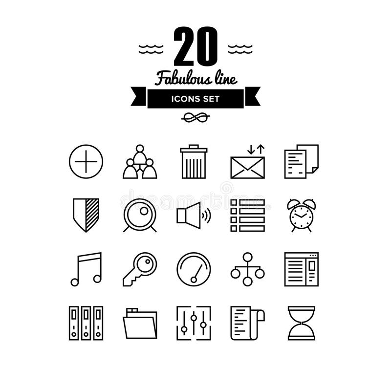 Various Elements Line Icons Set Stock Vector