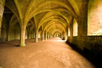 Vaulted Ceilings In Fountains Abbey In North Yorks Stock ...