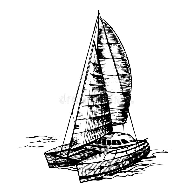Vecteur De Monochrome De Voilier De Catamaran Illustration