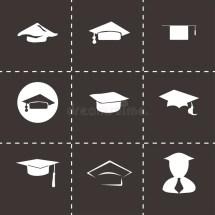 Vector Academic Cap Icon Set Stock - Illustration