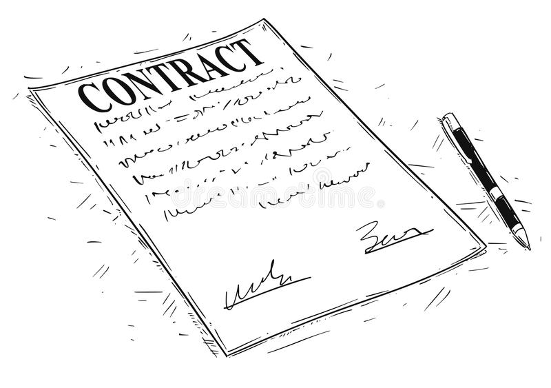 Sign contract stock illustration. Illustration of document