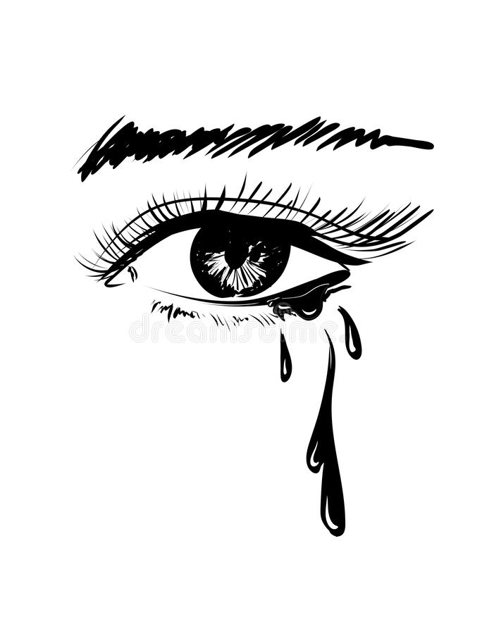 Vector Beautiful Illustration With Crying Eye Black Illustration Women S Watery Eyes Eyes With Flowing Mascara Stock Vector Illustration Of Anime Flowing 156720379