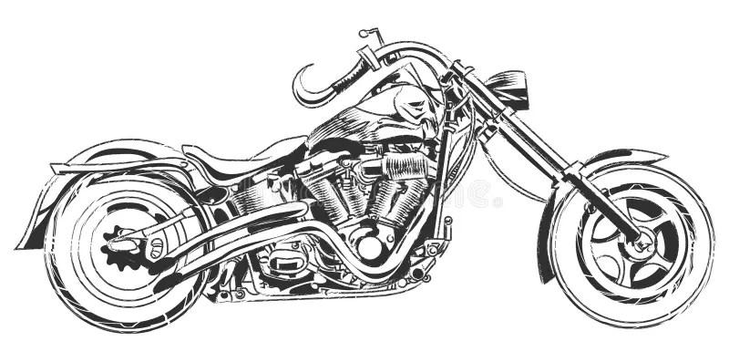 Vector Bikers. Hand Drawing Vector Motorcycle With Bike