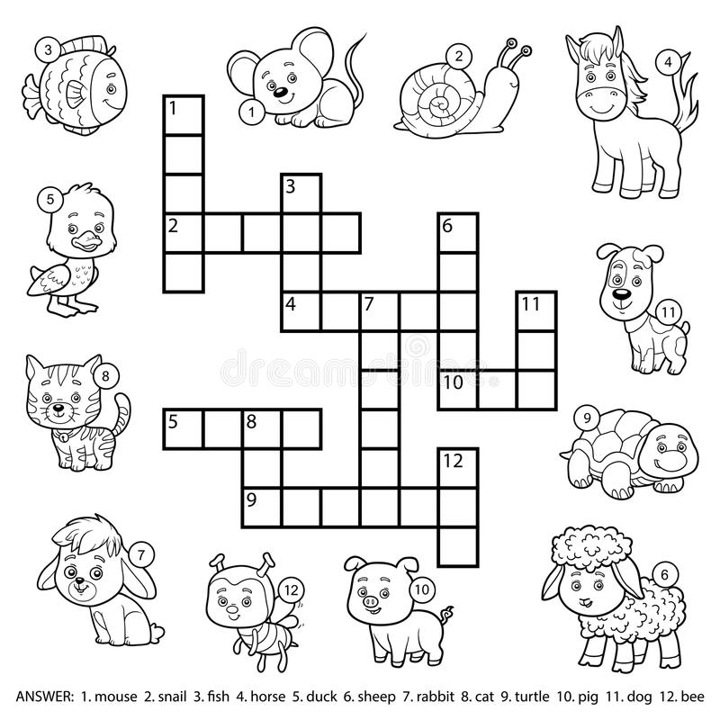 Vector Black And White Crossword About Domestic Animals