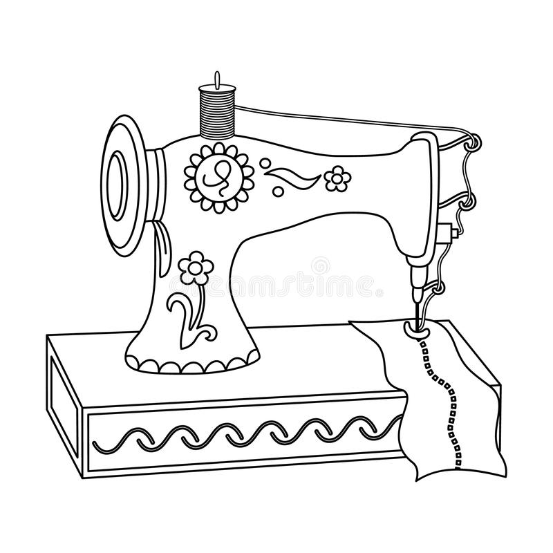 Vector Black And White Sewing Machine Stock Vector