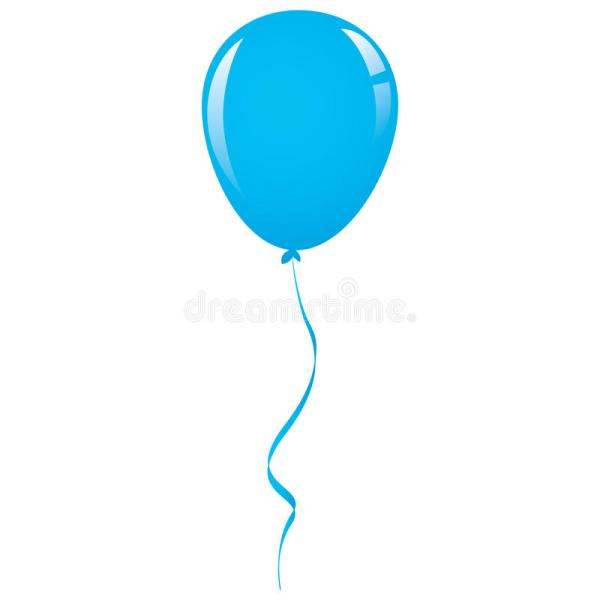vector blue balloon ribbon stock