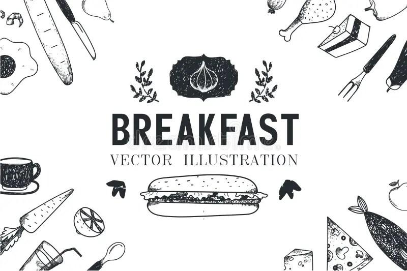 Vector Breakfast, Food Hand Drawn Illustration Stock