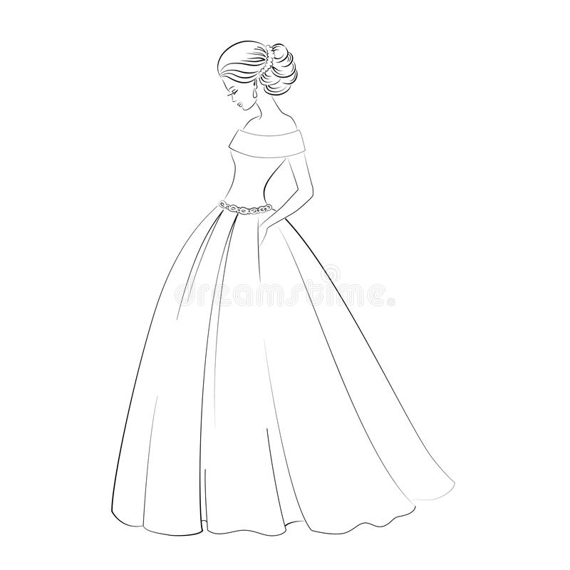 Vector Bride Model Contour Outline Illustration Of Pretty
