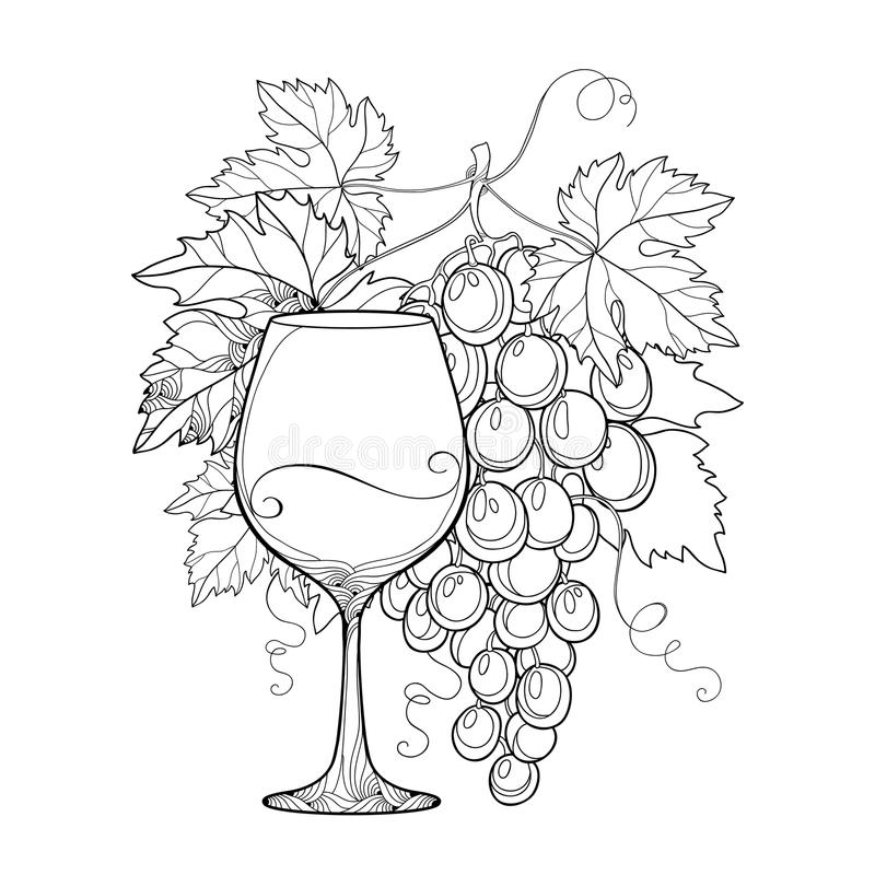 Vector Bunch Of Grape, Ornate Grape Leaves And Wineglass