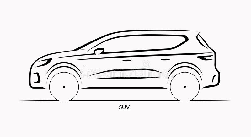 Vector Car Silhouette. Side View Of SUV Stock Vector