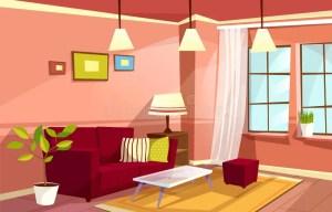 cartoon living apartment interior cozy