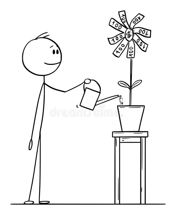 Businessman Watering Money Flower. Stock Vector