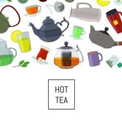 cartoon background tale fairy kitchen illustration kettles cups tea vector
