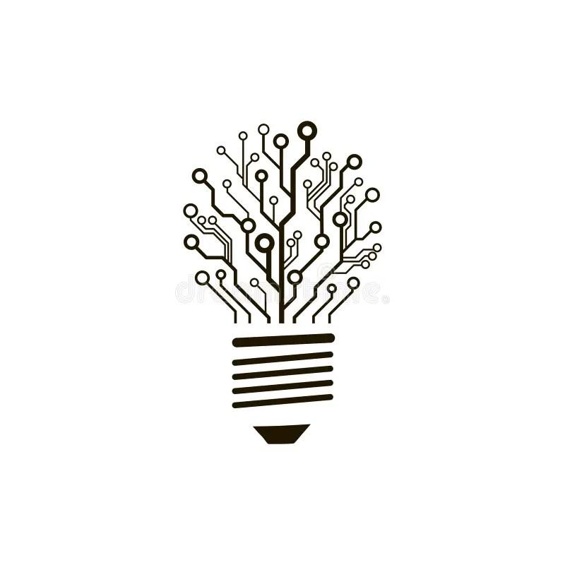 Vector circuit board bulb. stock vector. Illustration of