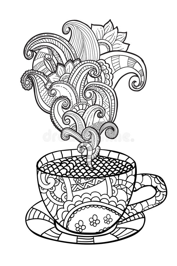 Vector Coffee Or Tea Cup With Abstract Ornaments. Stock