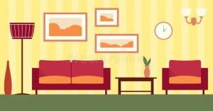 cartoon living interior vector illustration flat livingroom apartment background dining luxury illustrations dreamstime