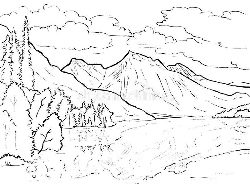 Coloring Mountains Stock Illustrations