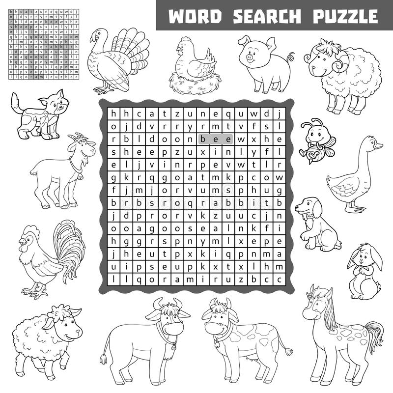 Vector Colorless Crossword About Farm Animals.Word Search