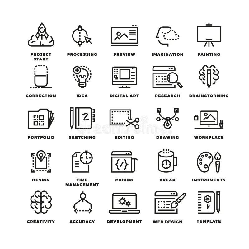 Vector Creative Process Line Icons Stock Vector