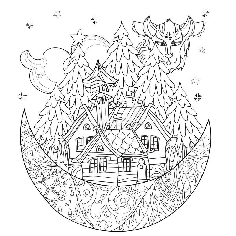 Vector Cute Christmas Fairy Tale Village Doodle. Stock