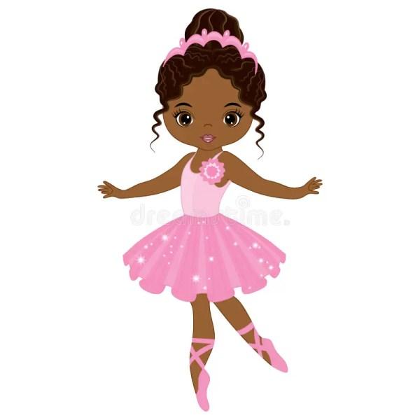 Little African American Ballerina Clip Art