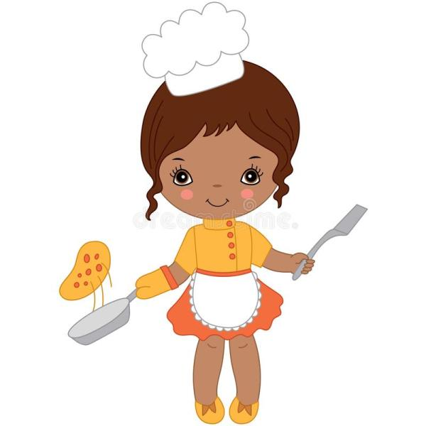 Vector Cute Little African American Chef