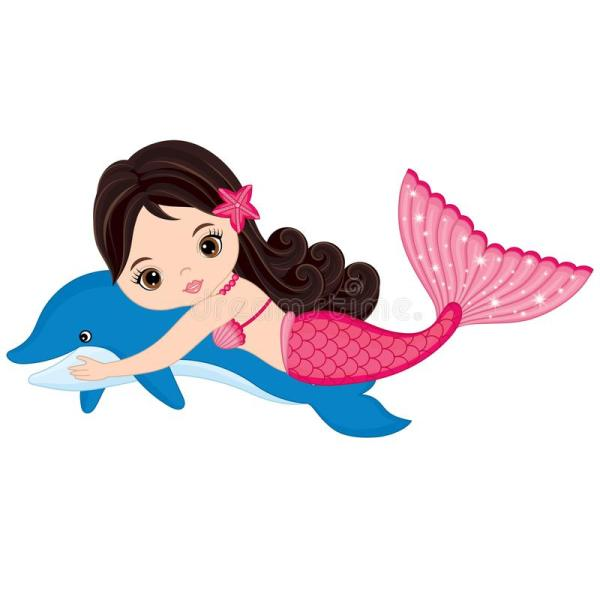 Vector Cute Little Mermaid Swimming With Dolphin Stock - Illustration Of