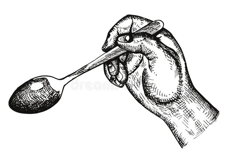Vector Disponible Del Comedor De La Cuchara Dibujo Manual