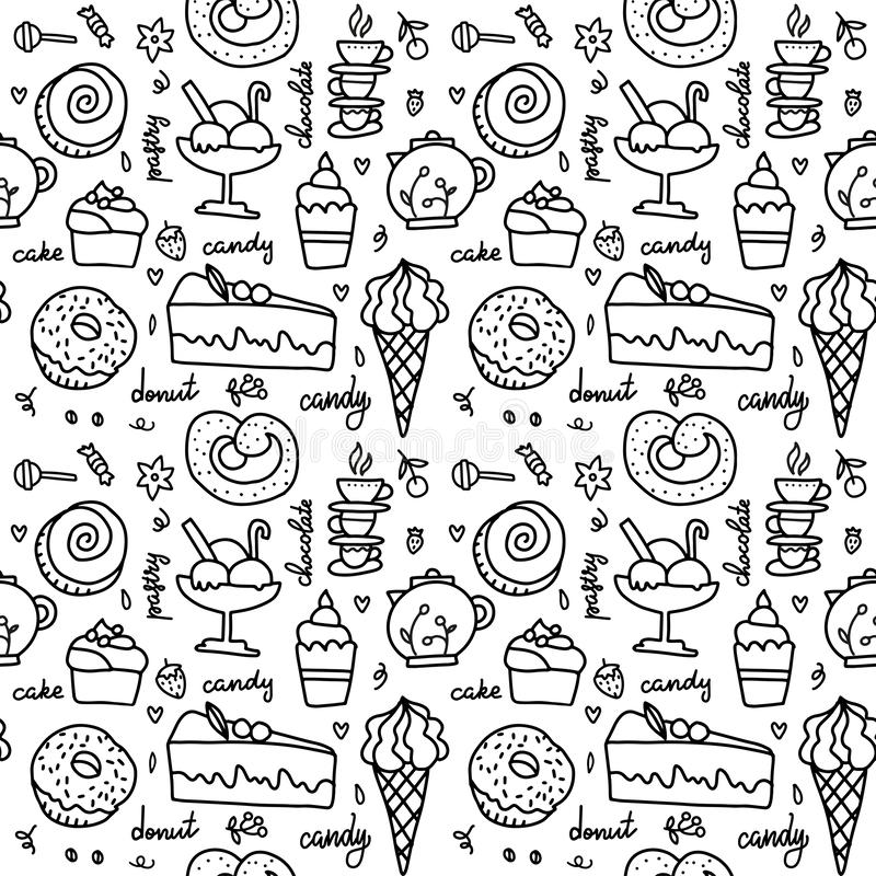 Doodle birthday pattern stock vector. Illustration of knot