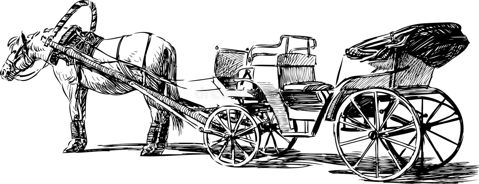 Horse and carriage stock vector. Illustration of realistic