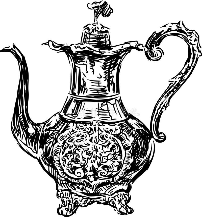 Antique coffee pot stock vector. Illustration of silver