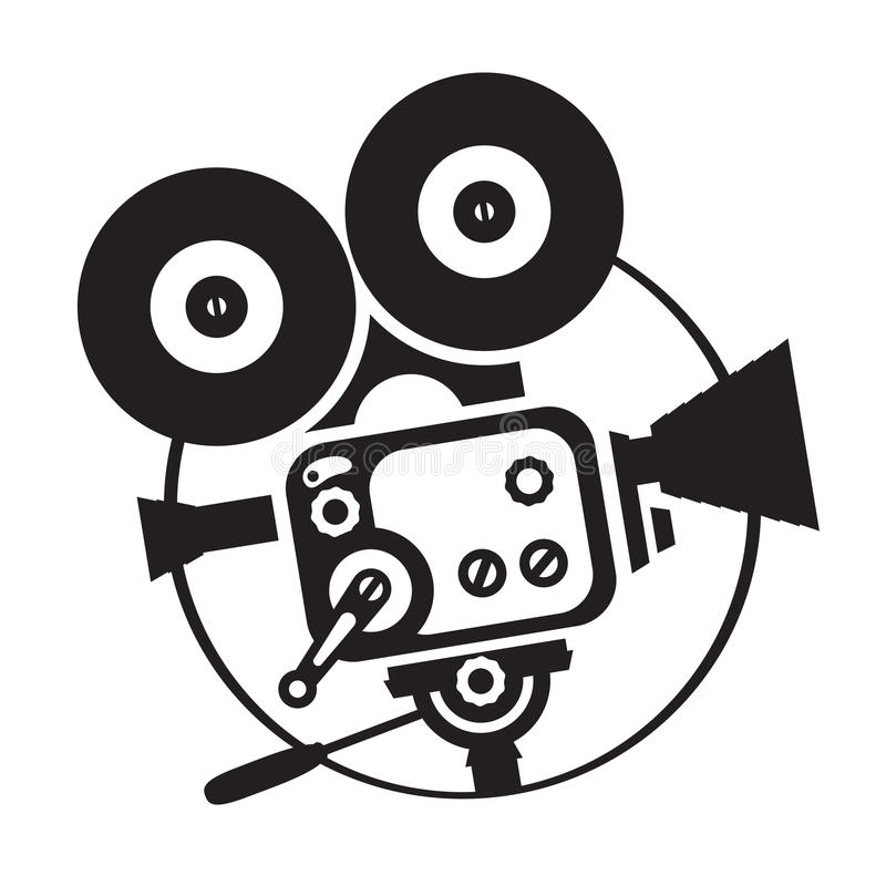 Vector Drawing Old Fashioned Movie Camera Stock Vector