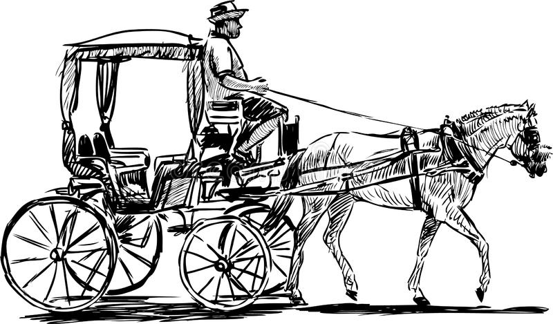Horse-drawn carriage stock vector. Illustration of going