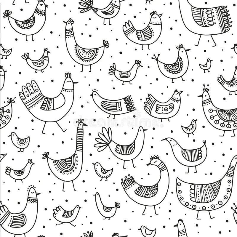 Vector Illustration African Style Birds Pattern Stock