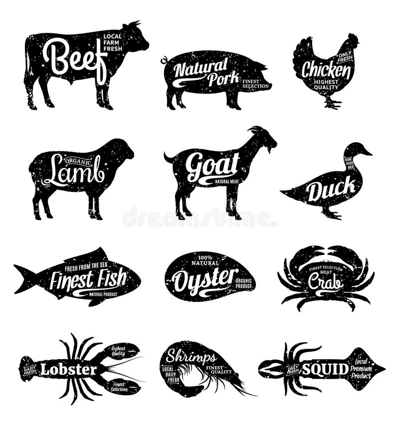 Vector Farm Animals And Seafood Silhouettes Collection