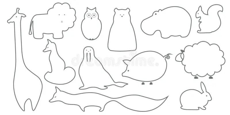 Vector Flat Animals Illustration Background. Stock Vector