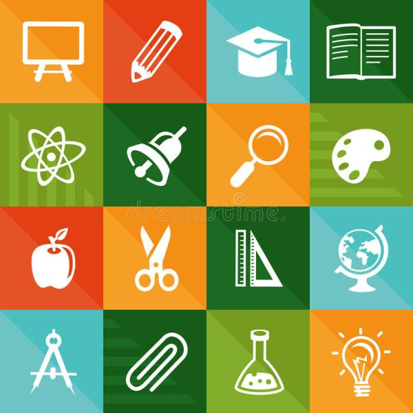 Vector Flat Icons - Education And Science Stock