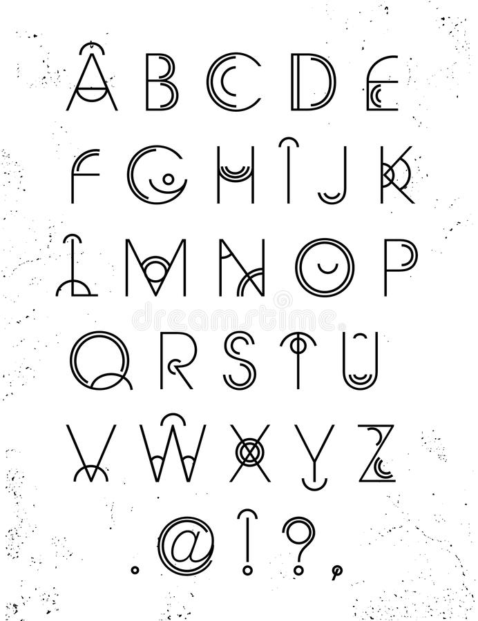 Vector Geometric Letters. Line And Circle Latin Font