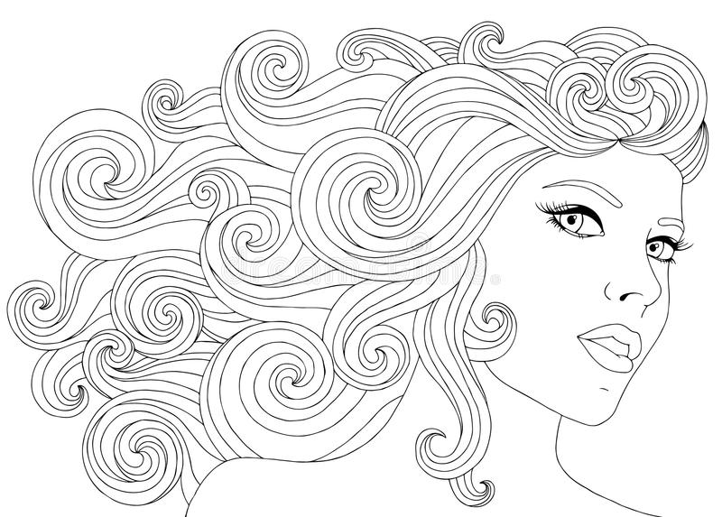 Vector Hand Drawn Illustration Woman With Waves Floral