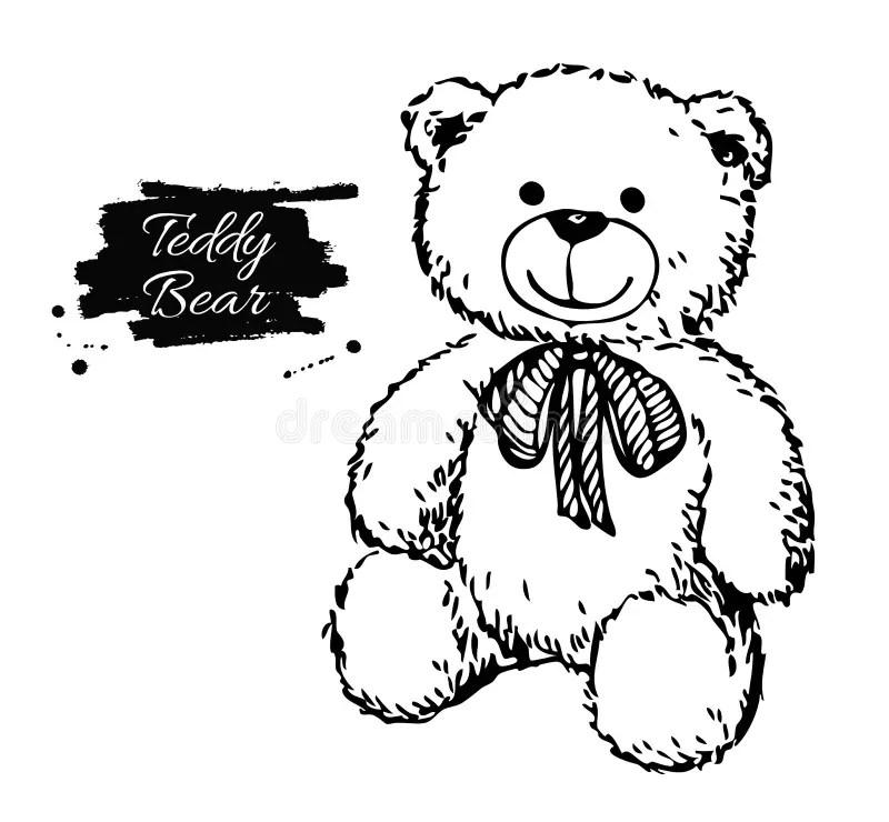Vector Hand Drawn Teddy Bear Illustration. Stock Vector