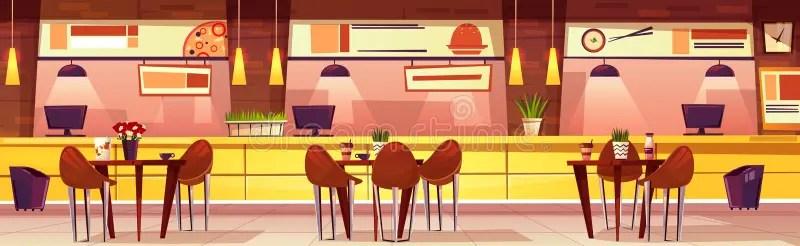 cartoon cafe interior vector restaurant tables mesas cafeteria horizontal chairs fumetto cozy fondo bright freepik gratis abbildung coffee vektoren sillas