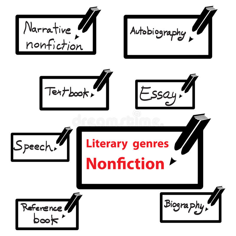 Vector Icon Of Literary Genres Nonfiction, Book Stock