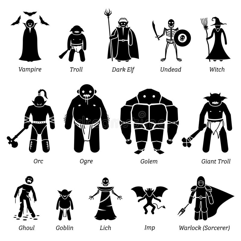 Ancient Medieval Fantasy Evil Characters, Creatures, And