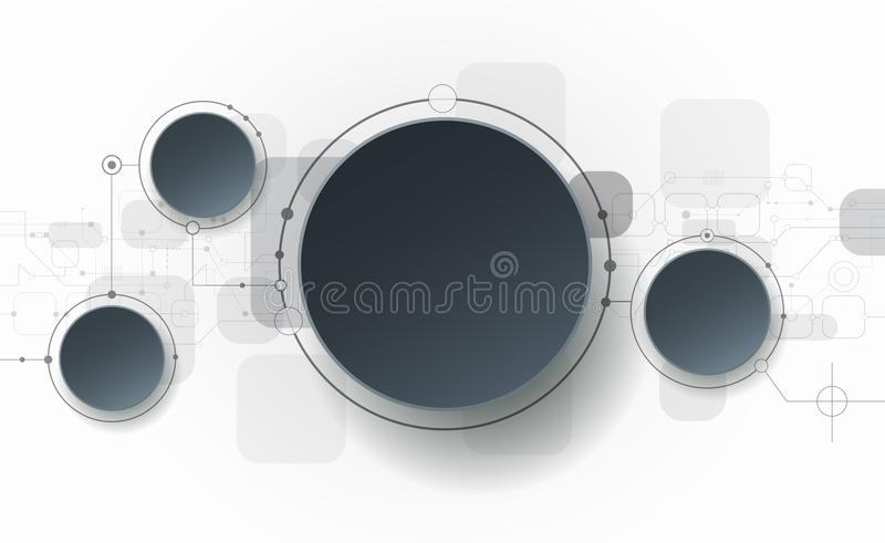 Abstract 3d White Paper Circle On Circuit Board Stock Vector Image