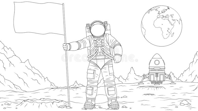 Cartoon Coloring Moon Stock Illustrations