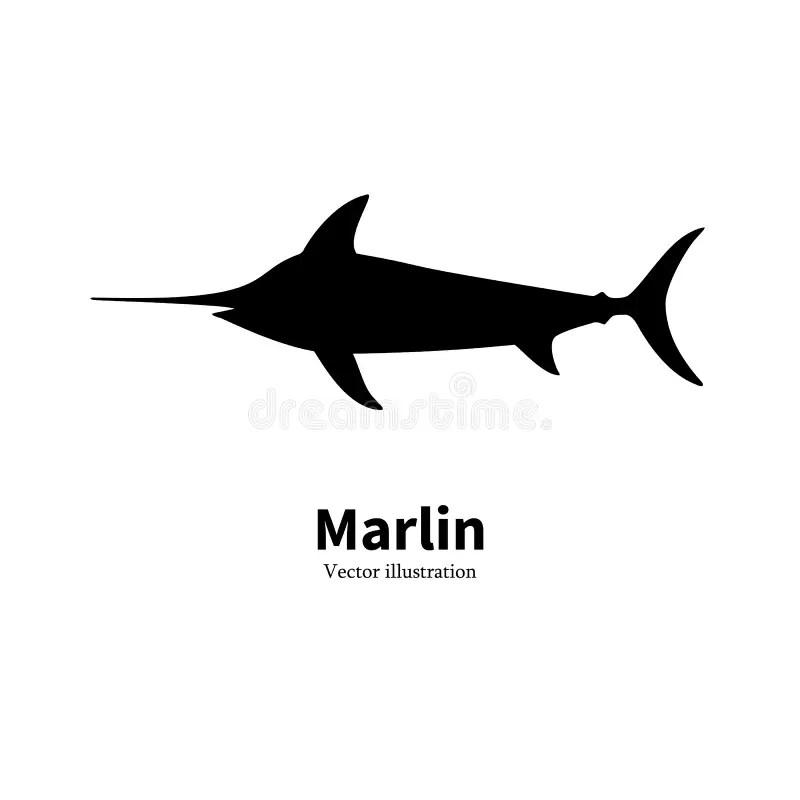 Vector Illustration Black Silhouette Fish Marlin Stock